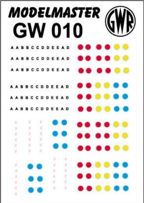 Modelmaster GW010 GWR 1889 - 1968 Route Markings OO Gauge Transfers