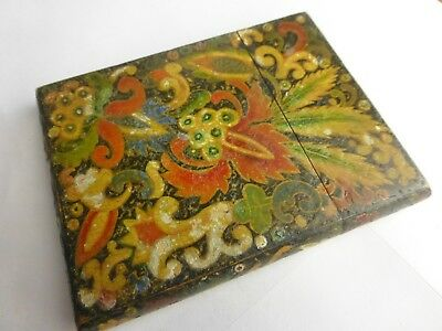 Antique Lacquered Berlin woolwork design wood calling card case