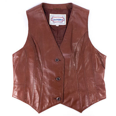 Vintage Casablanca For Guys- For Gals Leather Vest Size 13/14