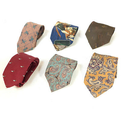 #09 Mixed Lot of 6 Vintage Men's Red, Yellow, Cyan, Blue, Tan Patterned Ties