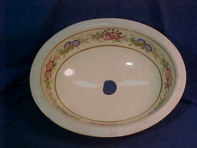 Never Used 19thc VICTORIAN Era PORCELAIN SINK w Hand Decorated FLORAL Design