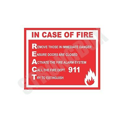 Industrial Safety Decal Sticker IN CASE OF FIRE REACT label
