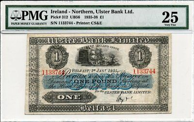 Ulster Bank Ltd. Ireland - Northern  1 Pound 1935 Fancy S/No 1133744 PMG  25