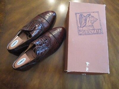 Davanzati Italy Crocodile Skin Shoes Mens 13D Style 9608 Rust in Box