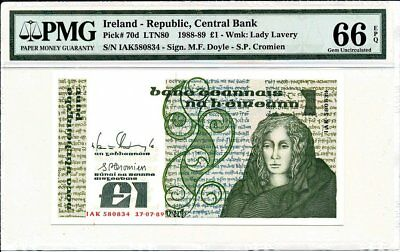 Central Bank Ireland - Republic  1 Pound 1989  PMG  66EPQ