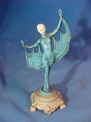 1920s ART DECO Era Small COLD PAINTED BRONZE Statue DANCING WOMAN 7""