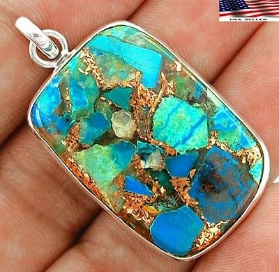 Copper Arizona Turquoise 925 Solid Sterling Silver Pendant Jewelry 1 3/4'' B4-2