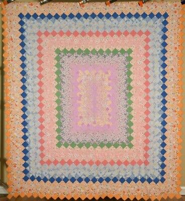 WELL QUILTED Vintage 30's Trip Around the World Postage Stamp Antique Quilt!