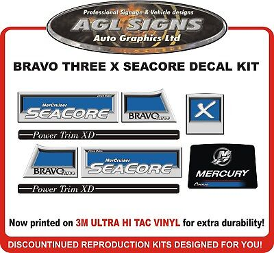 Mercury Bravo Three Seacore X Reproduction Decal Kit   Mercruiser