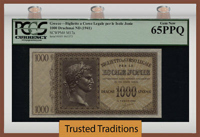 "TT PK M17a 1941 GREECE / IONIAN ISLANDS 1000 DRACHMAI ""CAESAR"" PCGS 65 PPQ GEM"