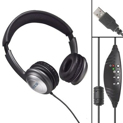 ECS OHUSB LC WordSlinger Overhead USB Transcription Headset Leatherette Cushions