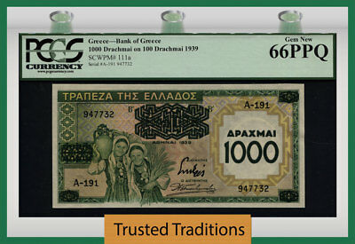 TT PK 111a 1939 GREECE 1000 DRACHMAI ON 100 DRACHMAI PCGS 66 PPQ GEM NONE FINER