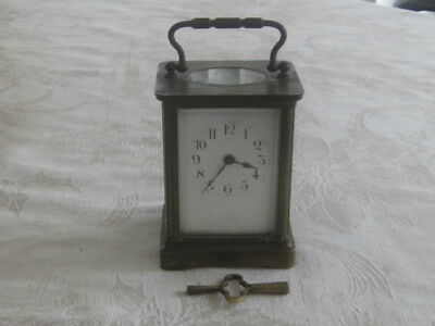 Antique French Carriage Clock Over Wound Brass & Beveled Glass & KEY NR!