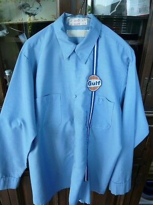 Vintage Gulf Oil Corporation Employee Shirt Long Sleeve Button Down Size M