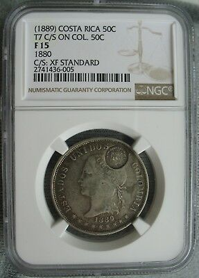 1889 Costa Rica 50 Centavos on Col. 50 C. (1880) NGC F-15