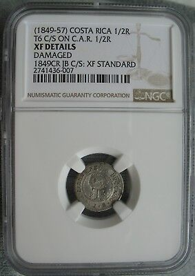 1849-57 Costa Rica 1/2 Real on C.A.R. 1/2 Real (1849) NGC XF-Details Damaged