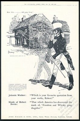 1922 Johnnie Walker Scotch Whisky Robert Burns ghost UK vintage print ad