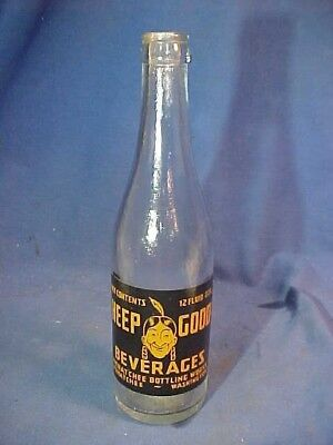 Orig 1930s HEEP GOOD BEVERAGES Glass SODA BOTTLE w Painted INDIAN LABEL