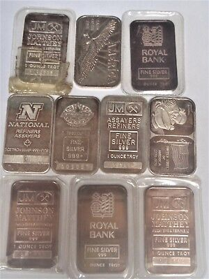 Vintage Collectible Silver Bars; 10 piece lot