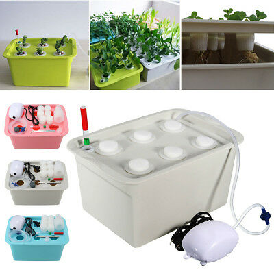 6 Holes Plant Site Hydroponic System Grow Bubble Tub DWC Deep Water Culture