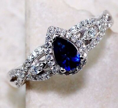 2CT Blue Sapphire & White Topaz 925 Solid Sterling Silver Ring Jewelry Sz 9