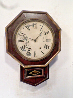 1872 New Haven Octagonal Wall Clock With Gilding On Case