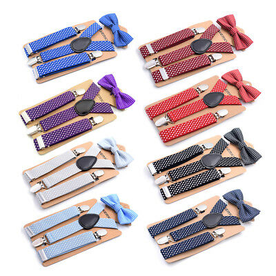Kids Bow Tie Boys Y-Shape Suspender Clip On Adjustable Elastic Girls Braces zf44