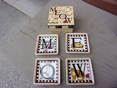 Set of 4 Kitty Meow Mini Plates by Linda Spivey 4.5 Penny Lane Publishing Co.