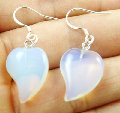 Hand-carved of heart pendant Opalite Gemstone Earrings Sliver Hook B11