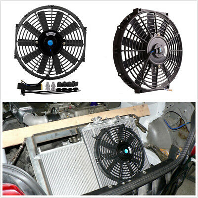 "12"" 12V 80W Car SUV Slim Electric Plastic Cooling Fan Radiator With Mounting Kit"