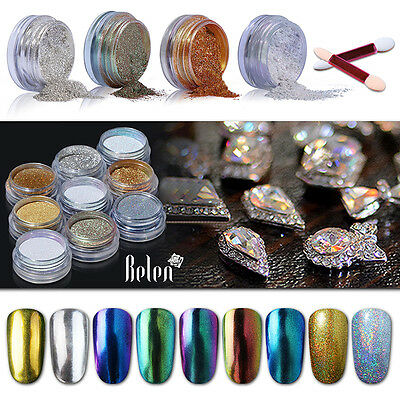 Belen Nail Art Chrome Powder Metallic Mirror Effect Holo Rainbow Sponge Stick