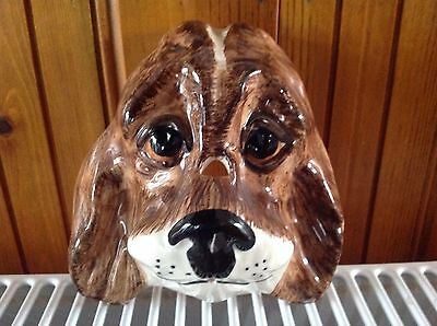 Spaniel Head, Babbacombe Pottery,hand Decorated By P. Laureston,string Dispenser