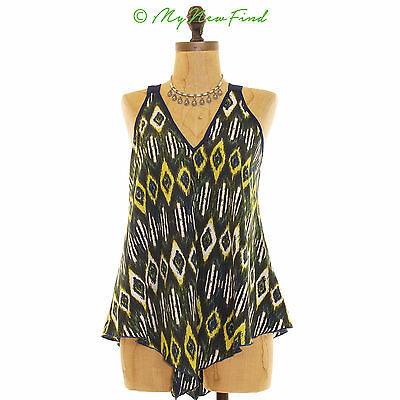 b40aa2b033a0e Zoe + Rose Band Of Gypsies Handkerchief Hem Tank Navy Blue Boho Print Top M  B20