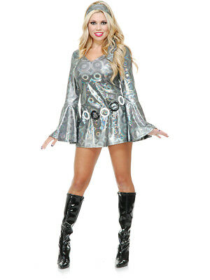 Womens Sexy Metallic Silver Disco Queen Diva Funky Go Go Girl Costume