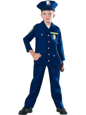 Child Boys Blue Police Officer Cop Costume