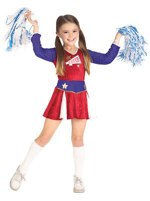 Child Girls Cheerleader Outfit And Pom-Poms Costume