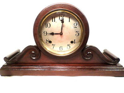 1910 Signed Sessions Mahogany Formal Mantle Clock With Gong Strike