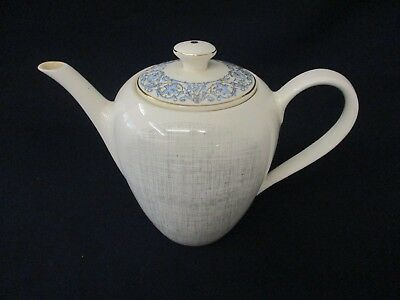 Tea Pot - Vintage J & G Meakin Reg Sol 391413 - White & Grey With Blue - 15cm T