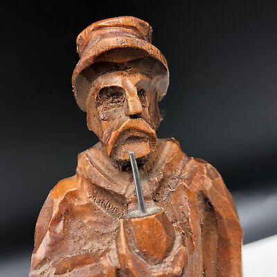 BLACK FOREST VINTAGE wood carved figurine Germany man smoking pipe bola statue