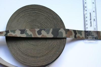 "ARMY GREEN CAMOUFLAGE CAMO  1"" 20mm WIDE ELASTIC WEBBING strapping strong."