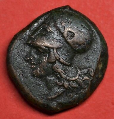 Lovely Bronze Litra Of Sicily, Syracuse: Athena / Hippocamp, 405-367 Bc. Superb!