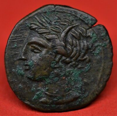 Quality Bronze Ae 17 Of Carthage, Zeugitana. 400-350 Bc. Tanit / Horse. V.f+