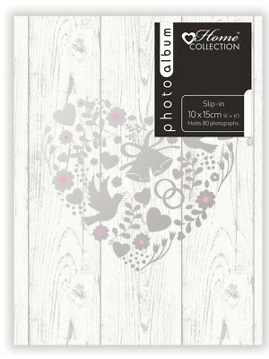 "White Wedding Photo Album Silver Heart Design Holds 80 4 x 6"" Photographs CEBS"