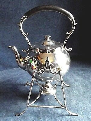 Superb LARGE ~ SILVER Plated ~ AESTHETIC Styled ~ Spirit KETTLE on Stand ~ c1900