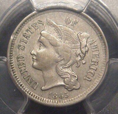 1865 3 Cent Nickel, Great Detail, Pcgs Graded Au58