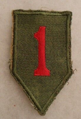 German Made 40's Open Weave Famous 1St Infantry Division Patch Solid White Back