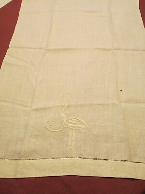 """Antique Linen Show Towel Padded  Embroidery Baby Stork Drawn Hems 15 1/2"""" X 24"""""""