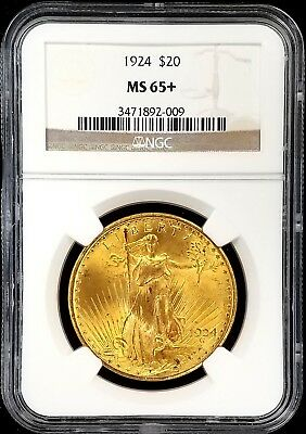 1924 St. Gaudens $20 Gold Piece certified MS 65 PLUS by NGC! NO RESERVE!