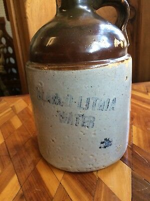 Blanco Lithia Water Hot Springs Arkansas Advertising Stoneware Jug ***RARE***