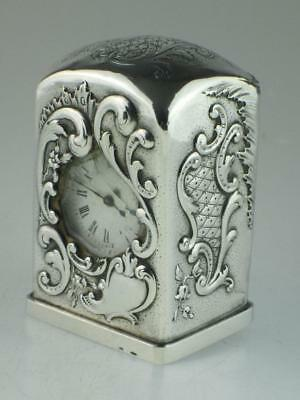 Antique 19th Century Solid Silver Carriage Clock Circa 1890 Working
